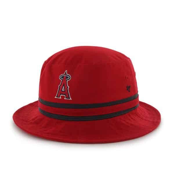 Los Angeles Angels Striped Bucket Bright Coke Red 47 Brand Hat
