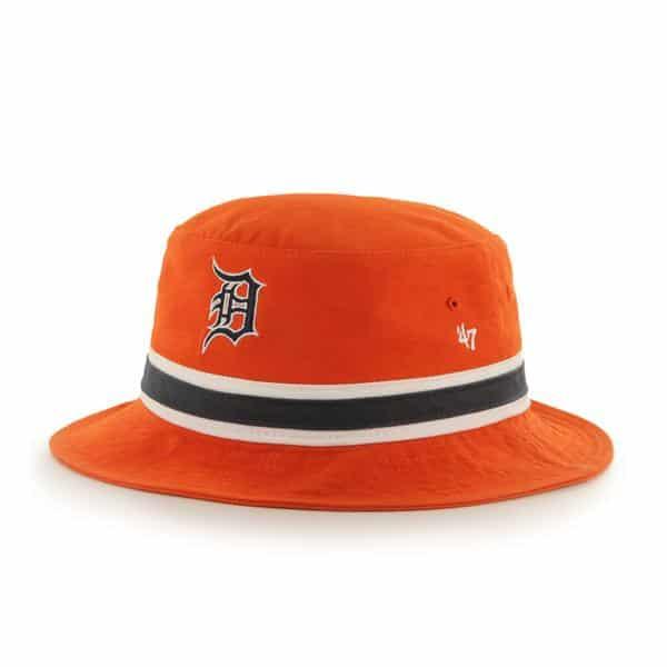 Detroit Tigers Striped Bucket Bright Orange 47 Brand Hat