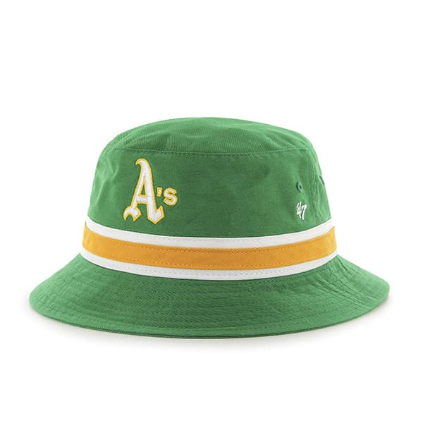 Oakland Athletics Striped Bucket Bright Kelly 47 Brand Hat