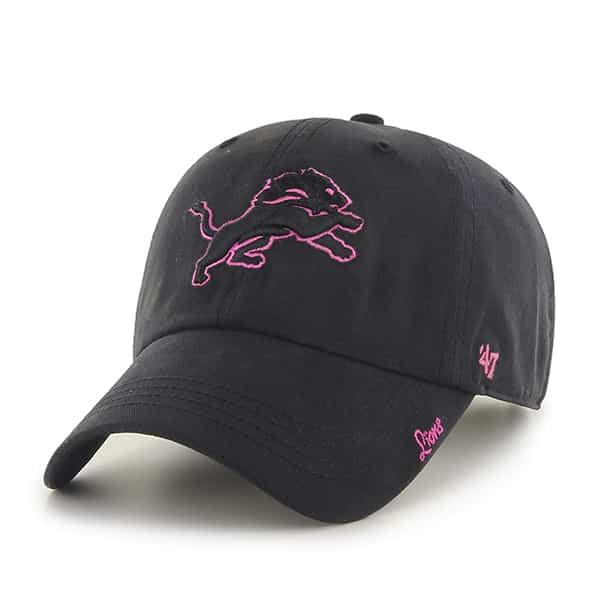 Detroit Lions Women's 47 Brand Black Miata Clean Up Adjustable Hat