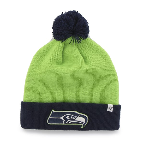 Seattle Seahawks Bounder Cuff Knit Lime 47 Brand Hat