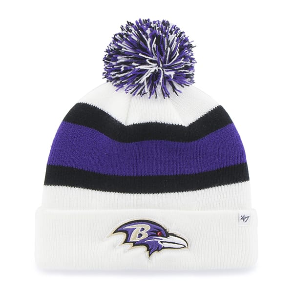 Baltimore Ravens Breakaway Cuff Knit White 47 Brand Hat