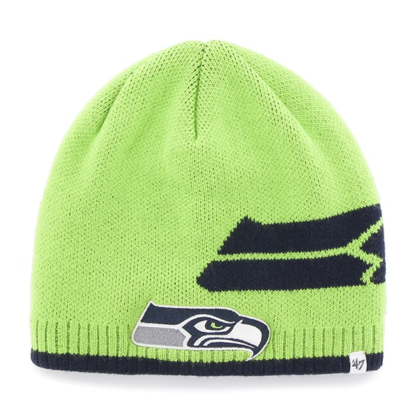 Seattle Seahawks Peaks Beanie Lime 47 Brand Hat