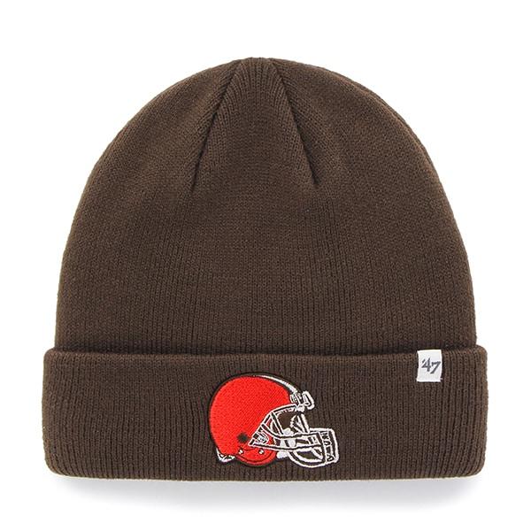 Cleveland Browns Raised Cuff Knit Brown 47 Brand Hat