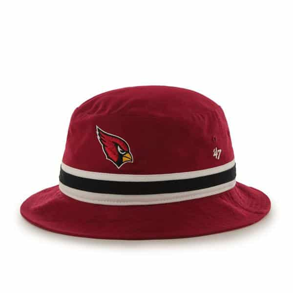 Arizona Cardinals Striped Bucket Bright Dark Red 47 Brand Hat