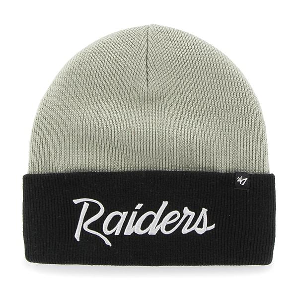 Oakland Raiders Super Script Cuff Knit Steel Grey 47 Brand Hat