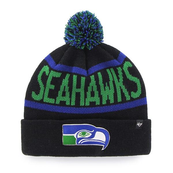 Seattle Seahawks Double Rubble Cuff Knit Black 47 Brand Hat