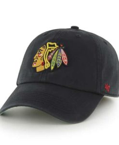 Chicago Blackhawks 47 Brand Black Franchise Fitted Hat