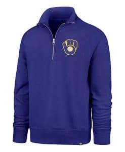 Milwaukee Brewers 47 Brand Men's Blue 1/4 Zip Pullover