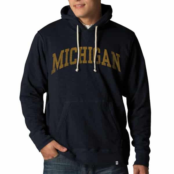 Michigan Wolverines Slugger Hoodie Mens Fall Navy 47 Brand