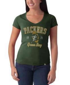 Green Bay Packers Flanker V-Neck Shirt Womens Bottle Green 47 Brand