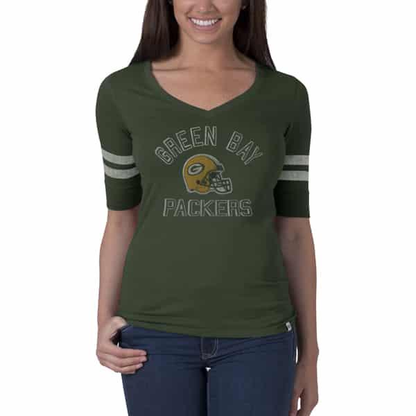 Green Bay Packers Flanker Stripe T-Shirt Womens Bottle Green 47 Brand