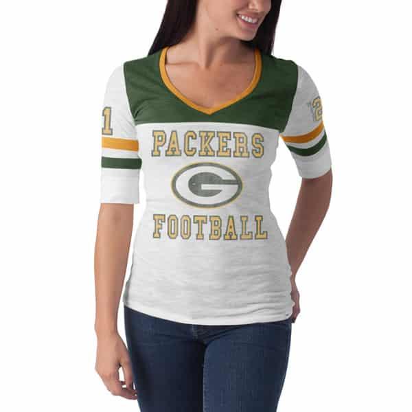 Green Bay Packers Debut T-Shirt Womens White Wash 47 Brand