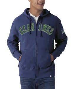 Seattle Seahawks Striker Full Zip Mens Bleacher Blue Hoodie Bleacher Blue 47 Brand
