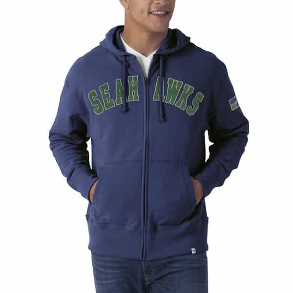Seattle Seahawks Striker Full Zip Mens Bleacher Blue Hoodie Bleacher Blue 47 Brand