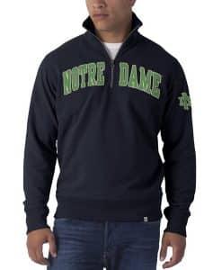 Notre Dame Fightin Irish Men's 47 Brand Navy Striker 1/4 Zip Pullover