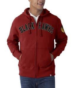 Chicago Blackhawks Striker Full Zip Mens Rescue Red Hoodie 47 Brand