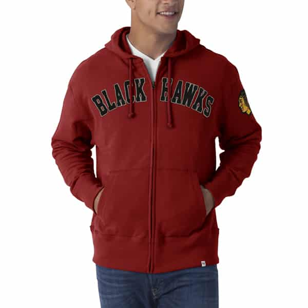 Chicago Blackhawks Striker Full Zip Mens Rescue Red Hoodie 47 Brand