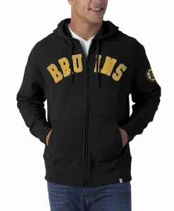 Boston Bruins Striker Full Zip Mens Jet Black Hoodie 47 Brand