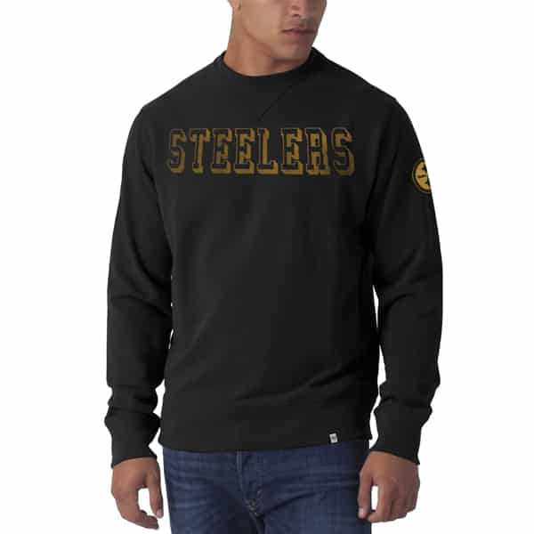 Pittsburgh Steelers Striker Long Sleeve Crew Mens Shirt Jet Black 47 Brand