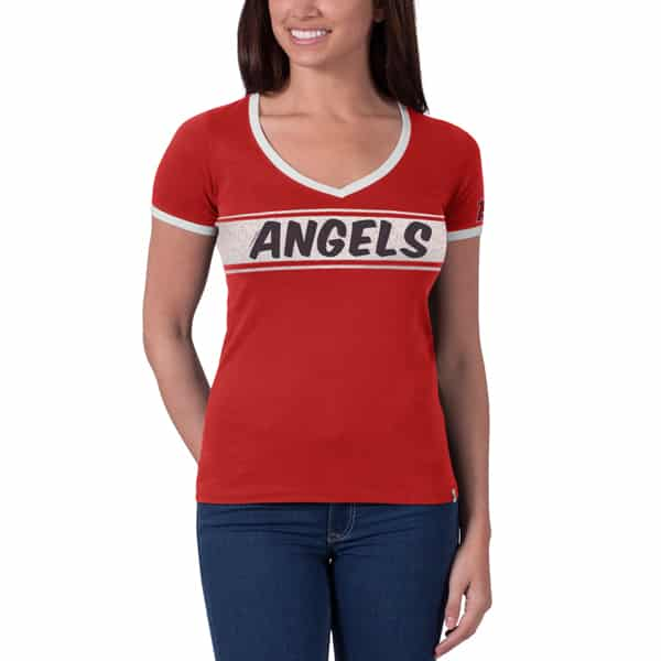 Los Angeles Angels Fly Ball Ringer Womens Rebound Red 47 Brand