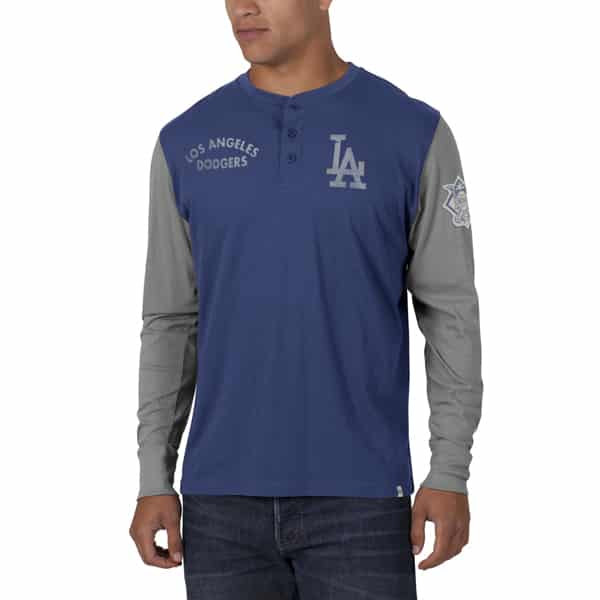Los Angeles Dodgers Homefield Henley Mens Bleacher Blue 47 Brand