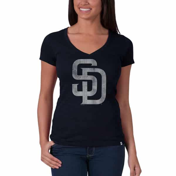 San Diego Padres V-Neck Shirt Scrum T-Shirt Womens Fall Navy 47 Brand