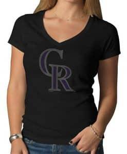 Colorado Rockies V-Neck Shirt Scrum T-Shirt Womens Jet Black 47 Brand
