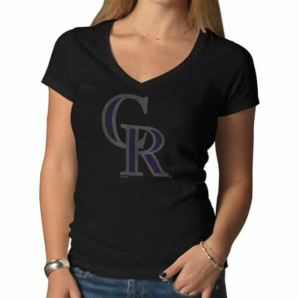 Colorado Rockies V-Neck Shirt Scrum T-Shirt Womens Jet Black 47 Brand