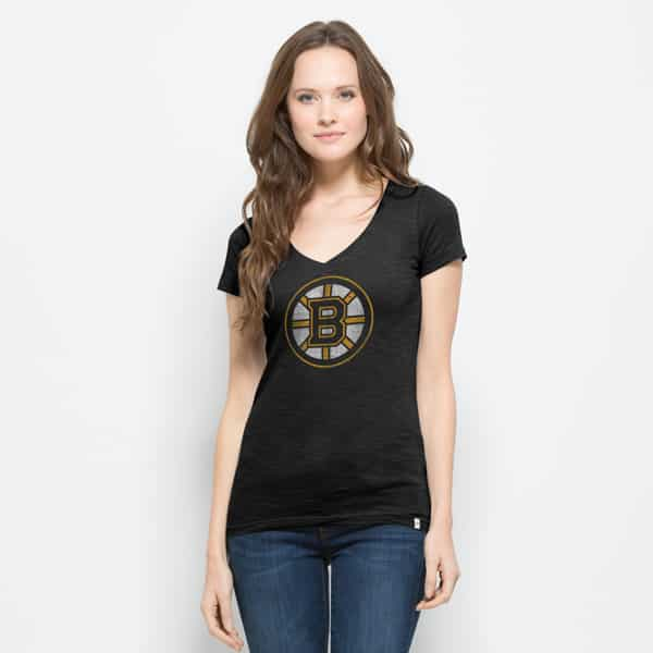 Boston Bruins V-Neck Shirt Scrum T-Shirt Womens Jet Black 47 Brand