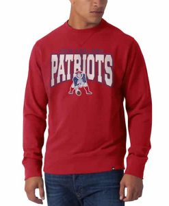 New England Patriots Co Sign Long Sleeve Crew Mens Shirt Slim Rebound Red 47 Brand