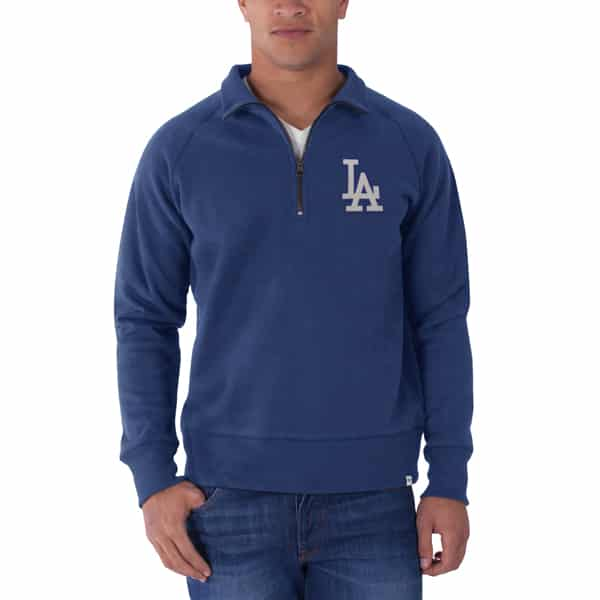 Los Angeles Dodgers Cross-Check 1/4 Zip Pullover Mens Booster Blue 47 Brand
