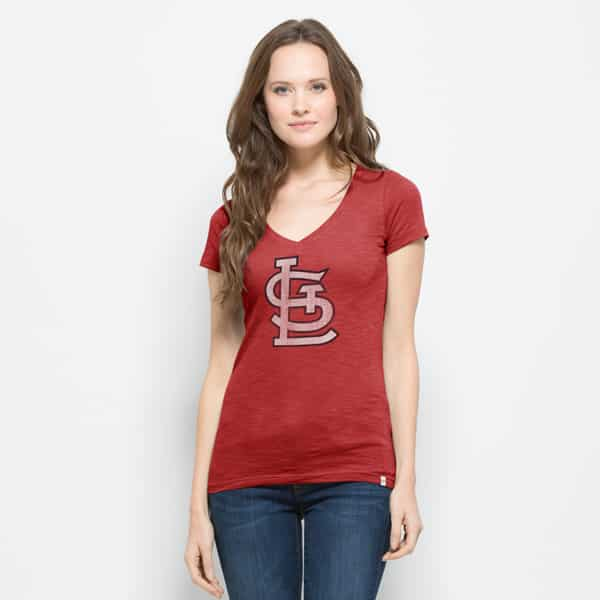 St. Louis Cardinals V-Neck Shirt Scrum T-Shirt Womens Rescue Red 47 Brand