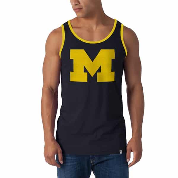 Michigan Wolverines Till-Dawn Tank Top Mens Fall Navy 47 Brand