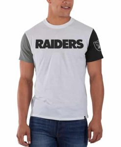 Oakland Raiders Double Up T-Shirt Mens Slim White Wash 47 Brand