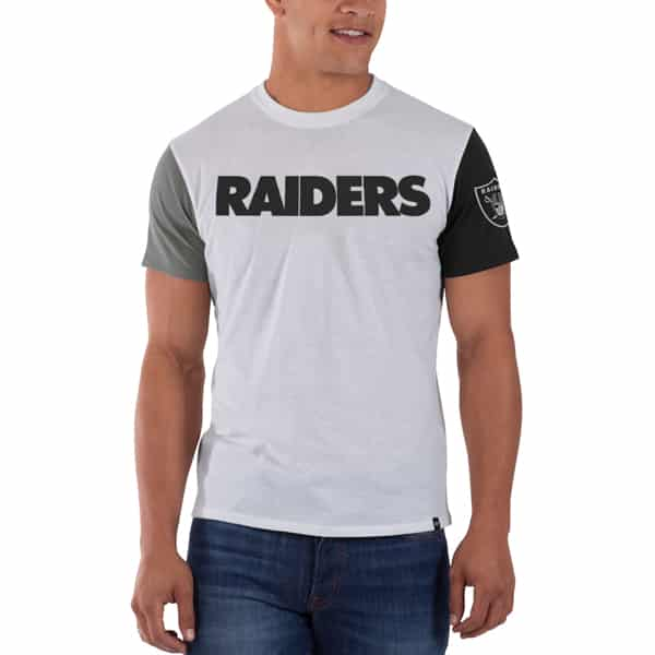 Oakland Raiders Double Up T-Shirt Mens Slim White Wash 47 Brand