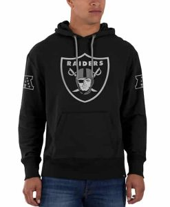 Oakland Raiders Sure Shot Scrimmage Hoodie Mens Slim Jet Black 47 Brand