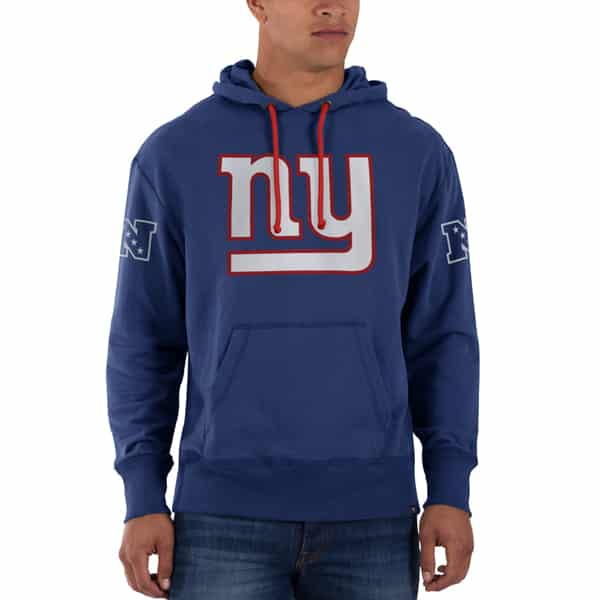 New York Giants Sure Shot Scrimmage Hoodie Mens Slim Bleacher Blue 47 Brand