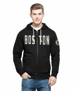 Boston Bruins Cross-Check Full Zip Hoodie Mens Jet Black 47 Brand