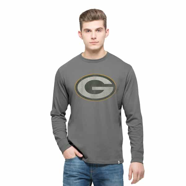 Green Bay Packers Long Sleeve Flanker T-Shirt Mens Wolf Grey 47 Brand