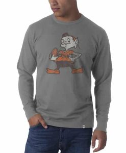 Cleveland Browns Long Sleeve Flanker T-Shirt Mens Wolf Grey 47 Brand