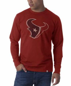 Houston Texans Long Sleeve Flanker Mens Rescue Red 47 Brand Long Sleeve T-Shirt