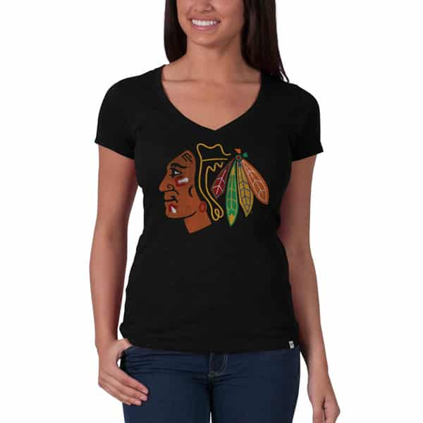 Chicago Blackhawks V-Neck Shirt Scrum T-Shirt Womens Jet Black 47 Brand