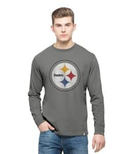 Pittsburgh Steelers Long Sleeve Flanker T-Shirt Mens Wolf Grey 47 Brand