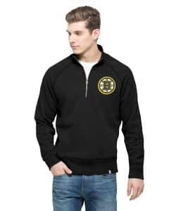 Boston Bruins 47 Brand Men's Jet Black Cross-Check 1/4 Zip Pullover Shirt