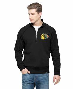 Chicago Blackhawks Cross-Check Men's 1/4 Zip Jet Black 47 Brand Pullover