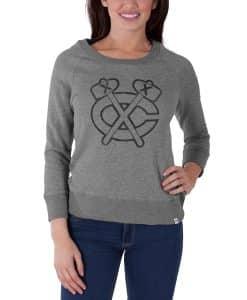 Chicago Blackhawks Glimmer Crew Womens Shirt Slate Grey 47 Brand