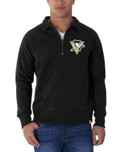 Pittsburgh Penguins Cross-Check 1/4 Zip Pullover Mens Jet Black 47 Brand