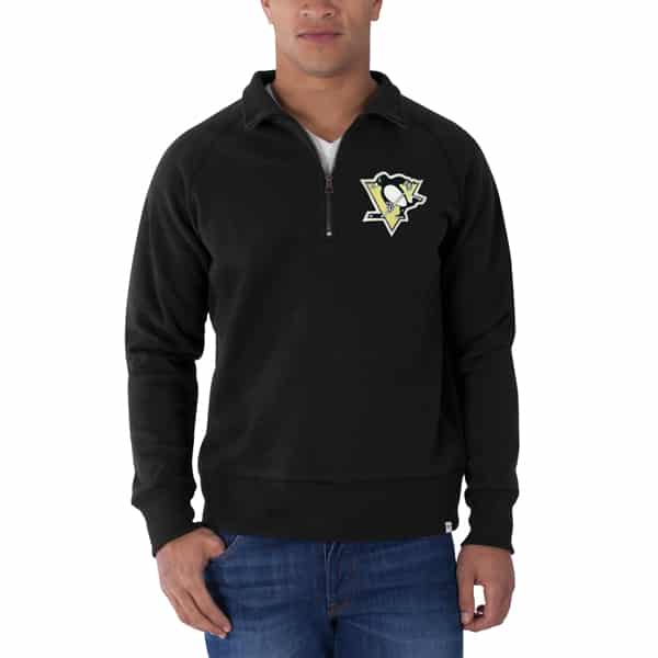 Pittsburgh Penguins Cross-Check 1/4 Zip Pullover Mens Jet Black 47 Brand