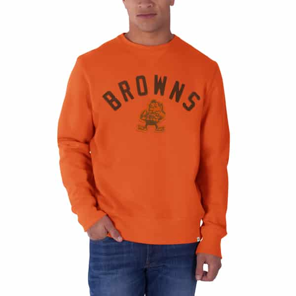 Cleveland Browns Cross-Check Long Sleeve Crew Mens Shirt Carrot 47 Brand